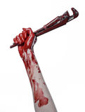 Bloody hand holding an adjustable wrench, bloody key, crazy plumber, bloody theme, halloween theme, white background,isolated Stock Images