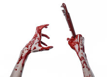 Bloody hand holding an adjustable wrench, bloody key, crazy plumber, bloody theme, halloween theme, white background,isolated Stock Image