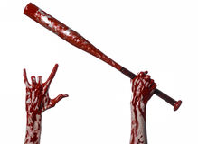 Bloody hand holding a baseball bat, a bloody baseball bat, bat, blood sport, killer, zombies, halloween theme, isolated, white bac Stock Image