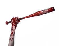 Bloody hand holding a baseball bat, a bloody baseball bat, bat, blood sport, killer, zombies, halloween theme, isolated, white bac Stock Photography