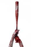Bloody hand holding a baseball bat, a bloody baseball bat, bat, blood sport, killer, zombies, halloween theme, isolated, white bac Stock Image