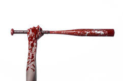 Bloody hand holding a baseball bat, a bloody baseball bat, bat, blood sport, killer, zombies, halloween theme, isolated, white bac Royalty Free Stock Images