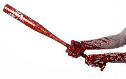 Bloody hand holding a baseball bat, a bloody baseball bat, bat, blood sport, killer, zombies, halloween theme, isolated, white bac Stock Images