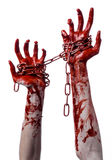 Bloody hand holding chain, bloody chain, halloween theme, white background, isolated Stock Photos