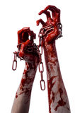 Bloody hand holding chain, bloody chain, halloween theme, white background, isolated Royalty Free Stock Images