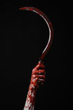 Bloody hand holding a sickle, sickle bloody, bloody scythe, bloody theme, halloween theme, black background, isolated Royalty Free Stock Photography