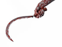 Bloody hand holding a sickle, sickle bloody, bloody scythe, bloody theme, halloween theme, white background, isolated Stock Photo