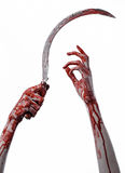 Bloody hand holding a sickle, sickle bloody, bloody scythe, bloody theme, halloween theme, white background, isolated Royalty Free Stock Photos