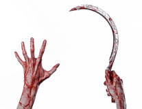 Bloody hand holding a sickle, sickle bloody, bloody scythe, bloody theme, halloween theme, white background, isolated Royalty Free Stock Images