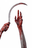 Bloody hand holding a sickle, sickle bloody, bloody scythe, bloody theme, halloween theme, white background, isolated Royalty Free Stock Photo