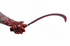 Bloody hand holding a sickle, sickle bloody, bloody scythe, bloody theme, halloween theme, white background, isolated Royalty Free Stock Photography