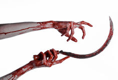 Bloody hand holding a sickle, sickle bloody, bloody scythe, bloody theme, halloween theme, white background, isolated Stock Images