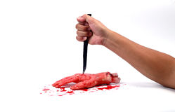 A bloody hand making Stock Images