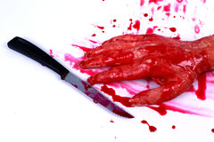 Bloody hand making Stock Image
