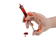 Bloody hand with needle Royalty Free Stock Images