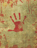 Bloody Hand Print Blood Splattered Background. Illustration of a background texture with bloody hand print and blood splattered surface Royalty Free Stock Images