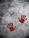 Bloody hand print on cement wall Stock Images