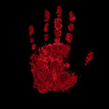Bloody hand print isolated on black background Royalty Free Stock Photography