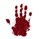Bloody hand print isolated on white background. Horror scary blo. Od dirty handprint and fingerprint vector illustration Stock Image
