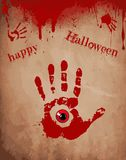 Bloody hand print with red eye inside on the old paper background Royalty Free Stock Photo
