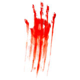 Bloody hand print. Red bloody hand print on a white background Stock Images