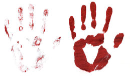 Bloody hand prints. Two bloody hand prints on white paper. Hi-res scan Royalty Free Stock Images