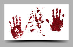 Bloody hand prints isolated on white background 16:9. Bloody hand prints isolated on white background Royalty Free Stock Photography