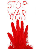 Bloody hand stamp. stop war. Clipping path Royalty Free Stock Image