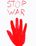 Bloody hand stamp. stop war. Clipping path Royalty Free Stock Photo