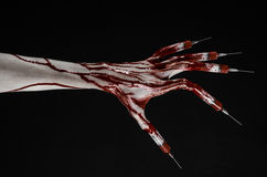 Bloody hand with syringe on the fingers, toes syringes, hand syringes, horrible bloody hand, halloween theme, zombie doctor, black. Background, isolated studio Royalty Free Stock Photography