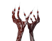 Bloody hand with syringe on the fingers, toes syringes, hand syringes, horrible bloody hand, halloween theme, zombie doctor, white Royalty Free Stock Images