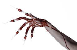 Bloody hand with syringe on the fingers, toes syringes, hand syringes, horrible bloody hand, halloween theme, zombie doctor, white Stock Photo