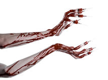 Bloody hand with syringe on the fingers, toes syringes, hand syringes, horrible bloody hand, halloween theme, zombie doctor, white. Background, isolated studio Royalty Free Stock Photo