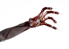 Bloody hand with syringe on the fingers, toes syringes, hand syringes, horrible bloody hand, halloween theme, zombie doctor, white. Background, isolated studio Stock Photo