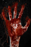 The bloody hand on the wet glass, the bloody window, an imprint of bloody hands, zombie, demon, killer, horror. Studio Stock Photo