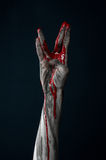 Bloody hand zombie demon Stock Photos