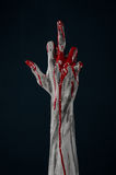 Bloody hand zombie demon. Studio Royalty Free Stock Images