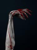 Bloody hand zombie demon. Studio Royalty Free Stock Image