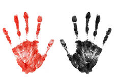 Bloody handprint. Bloody and black handprints isolated Royalty Free Stock Photography