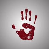 Bloody handprint isolated on white background Stock Photography