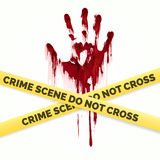Bloody handprint and police crime scene Royalty Free Stock Photography