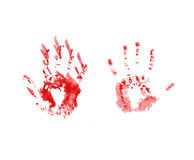 Bloody handprints. Two bloody handprints on paper stock photos