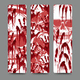 Bloody Handprints And Skull Bookmarks Set Royalty Free Stock Photo