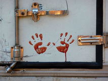 Bloody Handprints during Feast Eid al-Adha Royalty Free Stock Photos