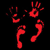 Bloody handprints and feet. Blood splatter and bloody hand print, vector illustration Royalty Free Stock Photo