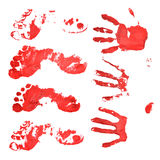 Bloody handprints and feet. Stock Image