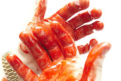 Bloody hands. Some bloody hands on a white background Royalty Free Stock Photography