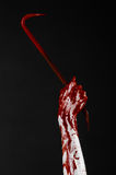 Bloody hands with a crowbar, hand hook, halloween theme, killer zombies, black background, isolated, bloody crowbar Stock Photos