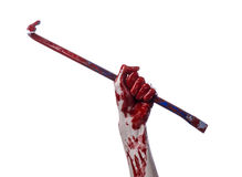 Bloody hands with a crowbar, hand hook, halloween theme, killer zombies, white background, isolated, bloody crowbar Stock Photos