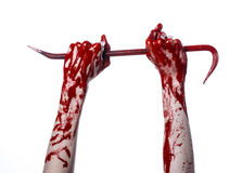 Bloody hands with a crowbar, hand hook, halloween theme, killer zombies, white background, isolated, bloody crowbar Royalty Free Stock Photo